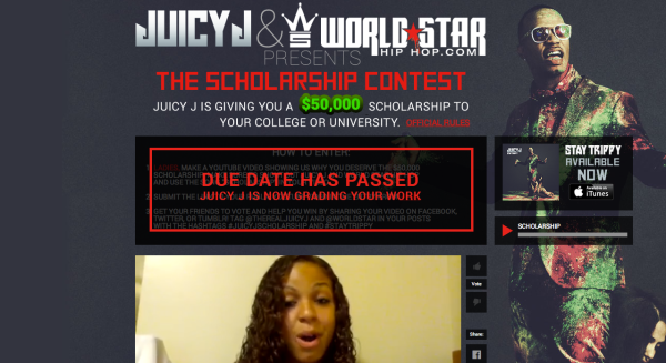 WorldStarHipHop Juicy J site for the contest (Screen Shot 2014-01-14 at 12.08.06 PM)